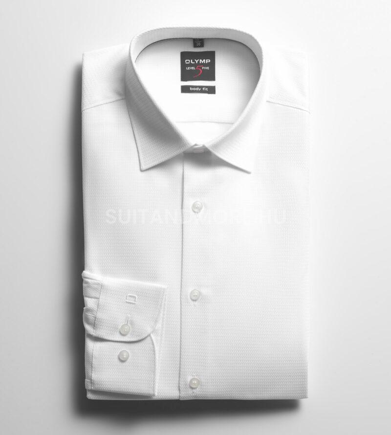 OLYMP-fehér-slim-fit-strukturált-vasaláskönnyített-ing-2046-34-00-01