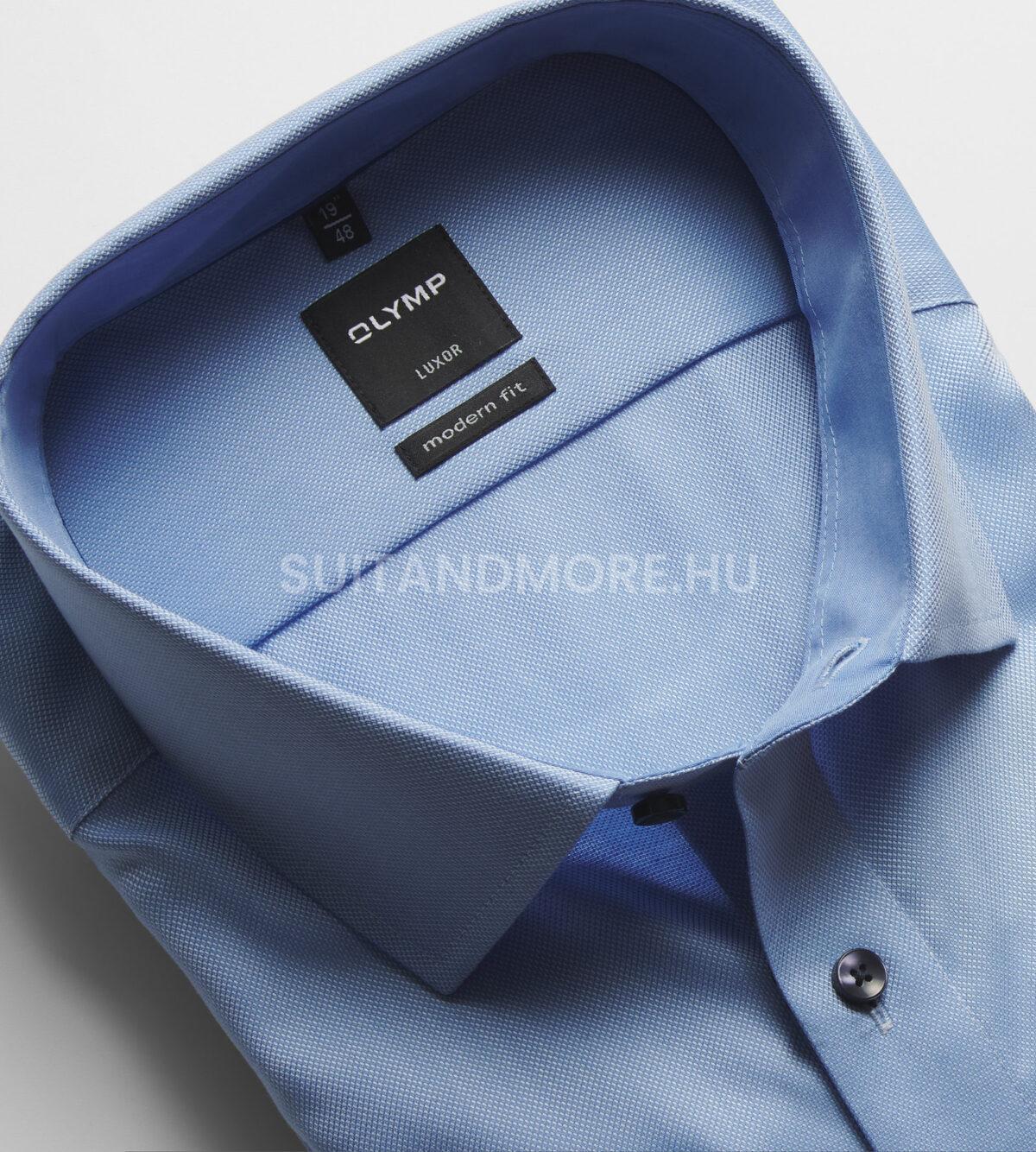 OLYMP-kék-modern-fit-strukturált-vasaláskönnyített-ing-0400-64-11-02